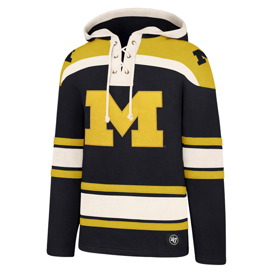 '47 Brand University of Michigan Hockey Navy ''Lacer'' Hooded Sweatshirt