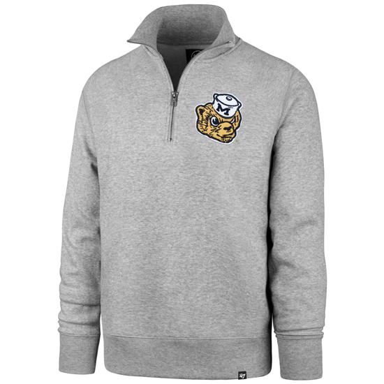 '47 Brand University of Michigan Gray College Vault Wolverine Stateside Striker 1/4 Zip Pullover Sweatshirt