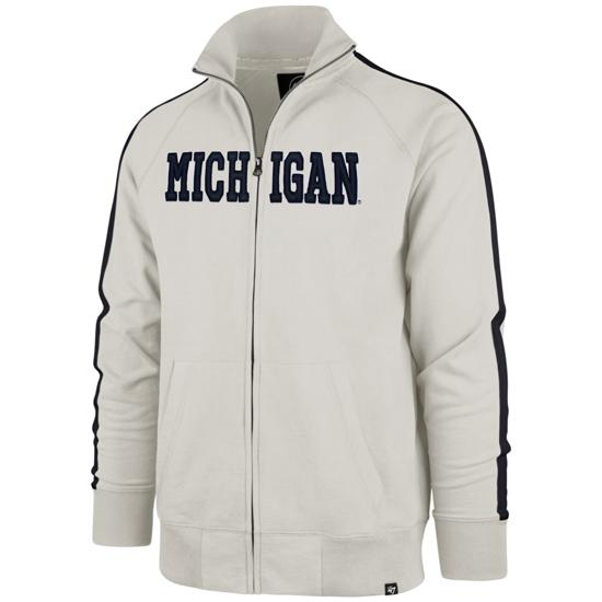 '47 Brand University of Michigan Off-White Scrimmage Full Zip Track Jacket