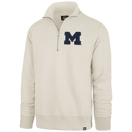 '47 Brand University of Michigan Dune Stateside Striker 1/4 Zip Pullover Sweatshirt