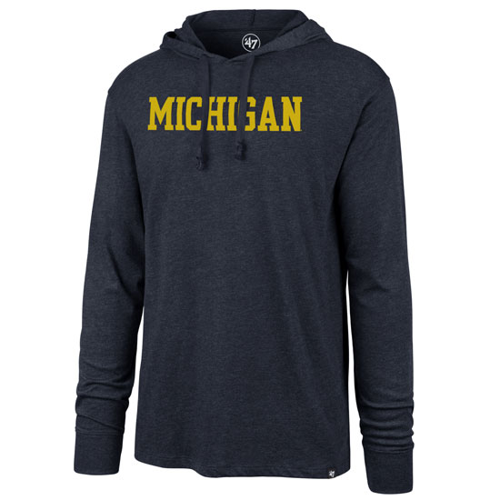 '47 Brand University of Michigan Heather Navy Property Arch Club Long Sleeve Hooded Tee