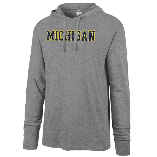 '47 Brand University of Michigan Heather Gray Property Arch Club Long Sleeve Hooded Tee