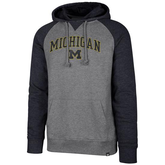 '47 Brand University of Michigan Gray/ Heather Navy ''Match'' Raglan Hooded Sweatshirt