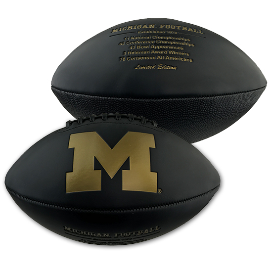 Baden University of Michigan Football Collector Series Black Autographable Football