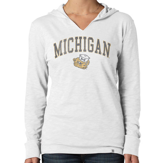 '47 Brand University of Michigan Women's College Vault Wolverine White Wash Primetime Hooded Tee