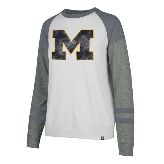'47 Brand University of Michigan Women's Long Sleeve ''Match'' Triblend Tee