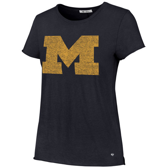 '47 Brand University of Michigan Women's Navy Fader Letter Tee