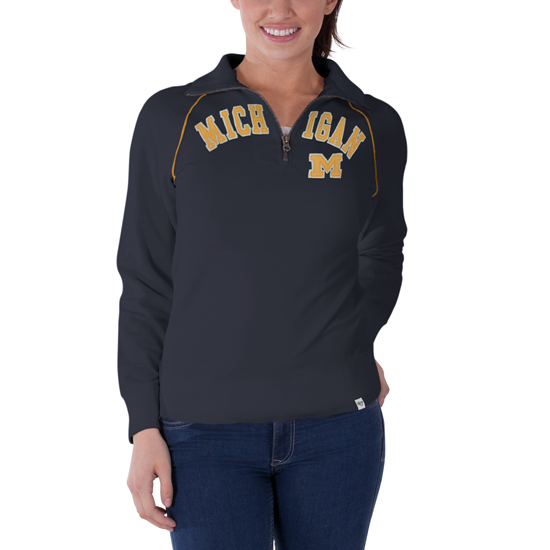 '47 Brand University of Michigan Women's Washed Navy 1/4 Zip Pullover