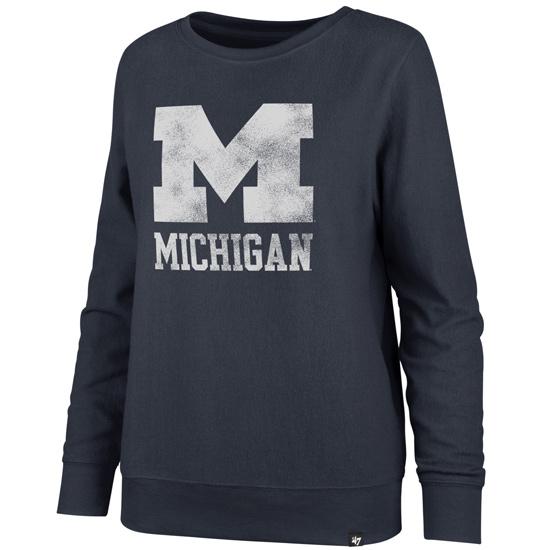 '47 Brand University of Michigan Women's Navy ''Encore Throwback'' Crewneck Sweatshirt