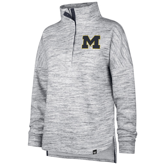 '47 Brand University of Michigan Women's Gray ''Haze'' 1/2 Snap-Up Pullover Sweatshirt