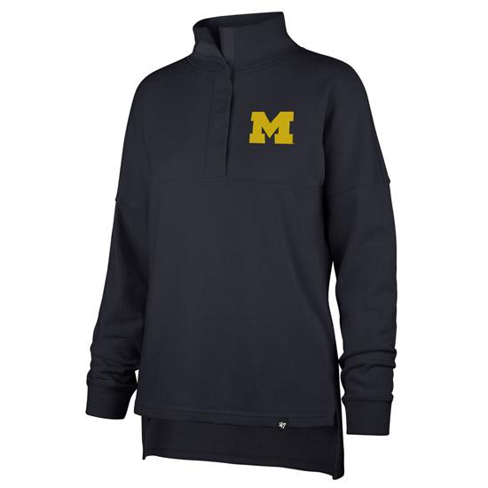 '47 Brand University of Michigan Women's Navy Boca Terry 1/2 Snap Collar Sweatshirt