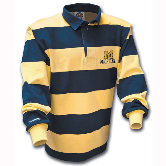 Barbarian University Of Michigan Striped Rugby Shirt