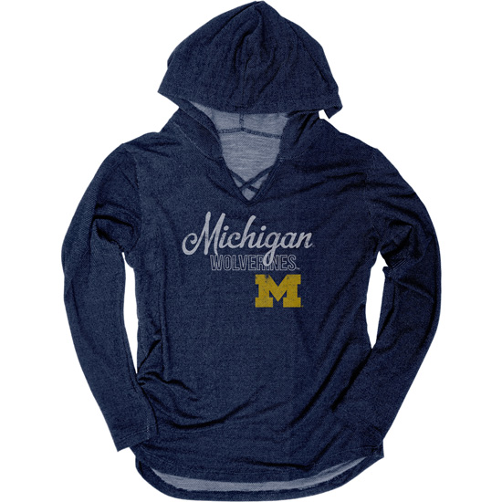 Blue84 University of Michigan Women's Navy Kedzie V-Neck Long Sleeve Hooded Tee