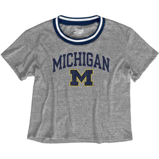 Blue84 University of Michigan Women's Gray Varsity Ringer Triblend Crop Tee