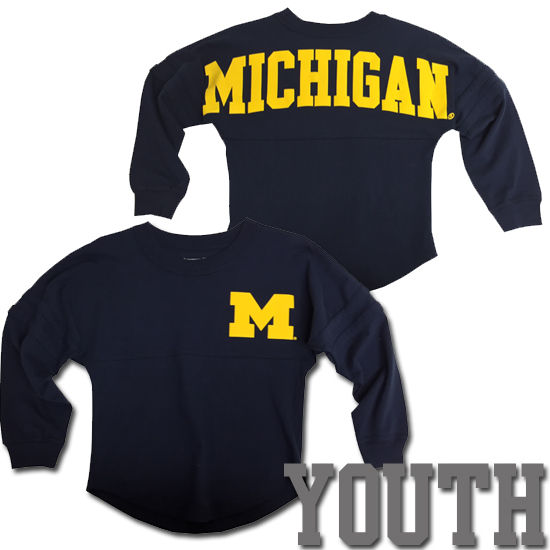 Boxercraft University of Michigan Youth Girls Navy Long Sleeve Spirit Tee