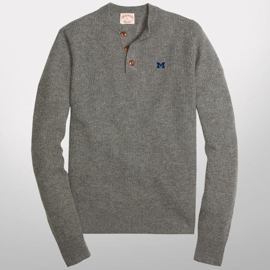 Brooks brothers red fleece university of michigan cashmere thermal henley - Brooks brothers corporate office ...