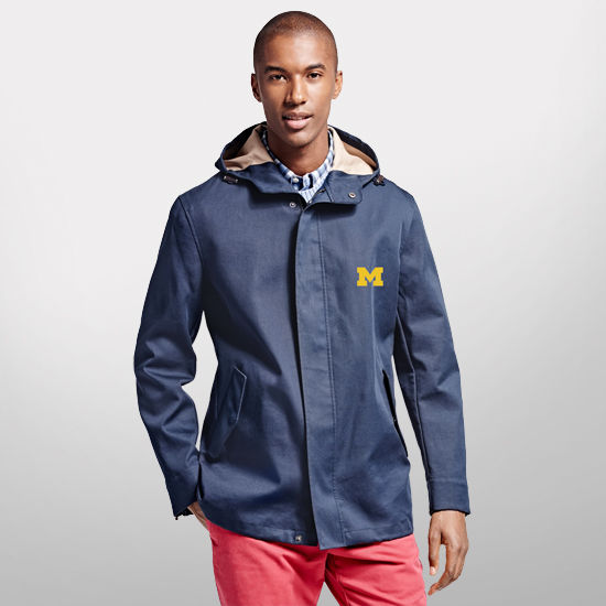 Brooks Brothers University of Michigan Navy Bonded Rain Jacket