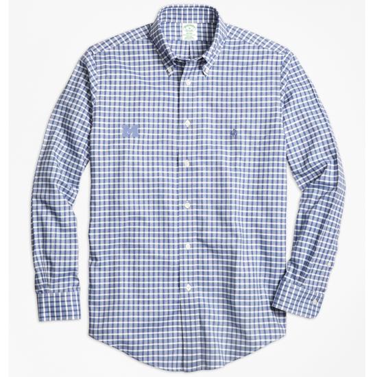 Brooks Brothers University of Michigan Blue Check Madison Fit Sport Shirt