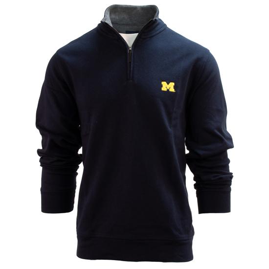 Brooks Brothers University of Michigan Navy Supima Cotton 1/4 Zip Pullover Sweater
