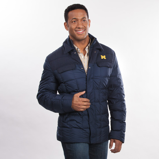 Brooks brothers university of michigan navy mixed media full zip down filled jacket - Brooks brothers corporate office ...