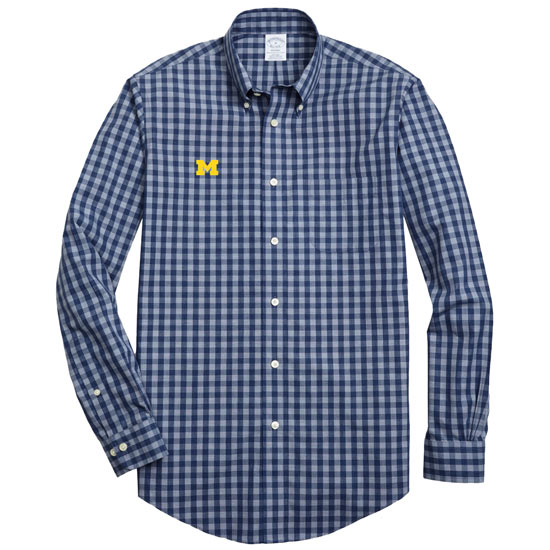 Brooks Brothers University of Michigan Tonal Heathered Gingham Sport Shirt