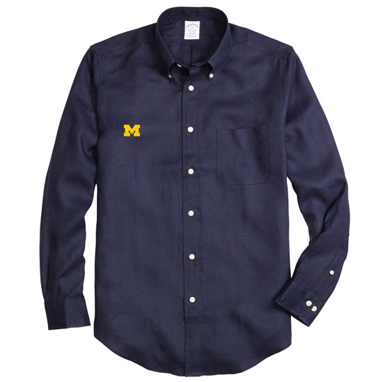 Brooks Brothers University of Michigan Regent Fit Navy Irish Linen Long Sleeve Sport Shirt