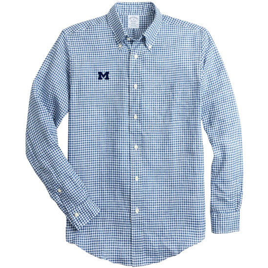 Brooks Brothers University of Michigan Regent Fit Navy Gingham Irish Linen Long Sleeve Sport Shirt