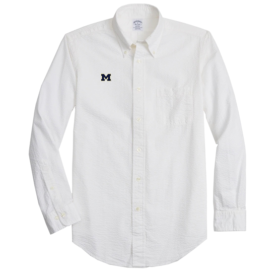 Brooks Brothers University of Michigan White Regent Fit Garment-Dyed Seerucker Sport Shirt