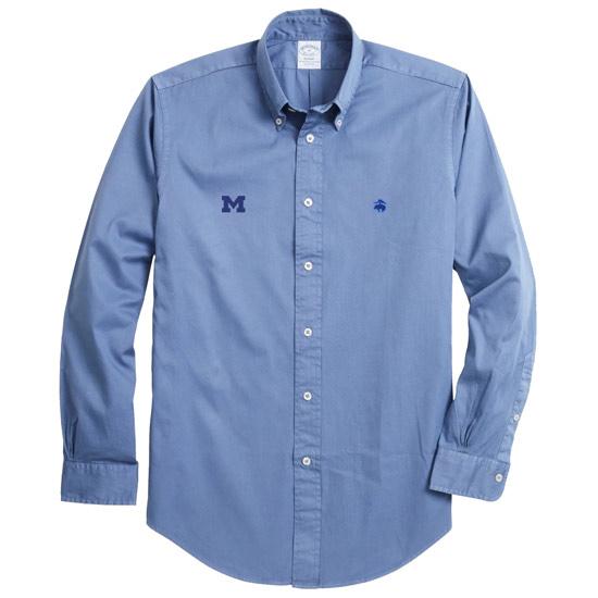 Brooks Brothers University of Michigan Regent Fit Marlin Blue Garment-Dyed Long Sleeve Sport Shirt