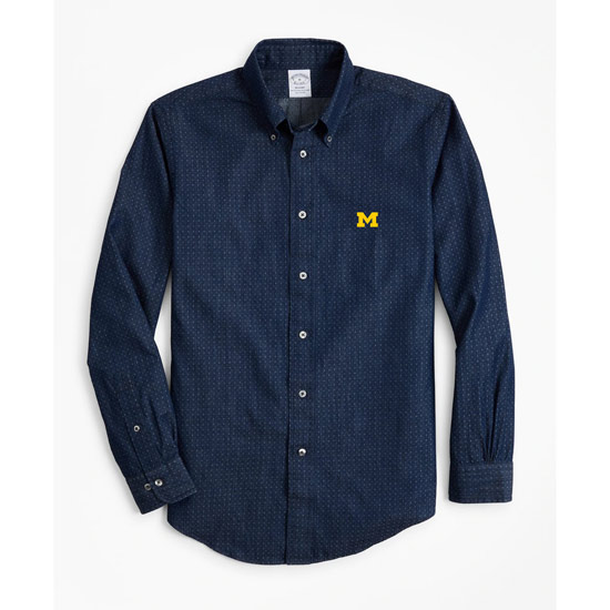 Brooks Brothers University of Michigan Regent Fit Indigo Dyed Micros-Paisley Print Long Sleeve Sport Shirt