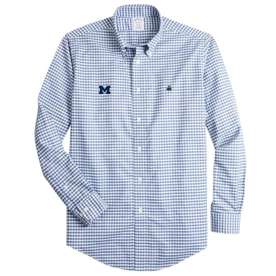 Brooks Brothers University of Michigan Regent Fit Heathered Navy Gingham Long Sleeve Sport Shirt
