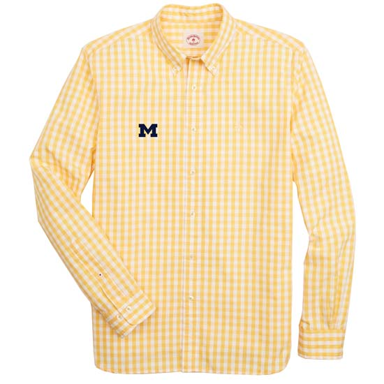 Brooks Brothers Red Fleece University of Michigan Yellow Gingham Broadcloth Sport Shirt