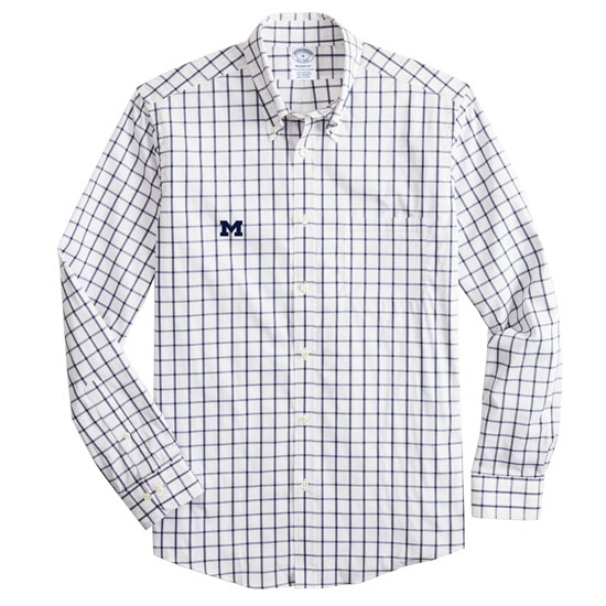 Brooks Brothers University of Michigan White Regent Fit Windowpane Performance Sport Shirt