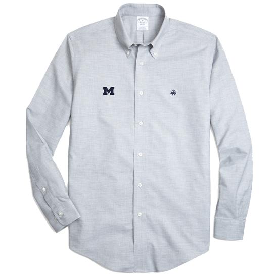 Brooks Brothers University of Michigan Heather Gray Regent Fit Sport Shirt
