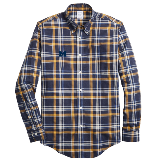 Brooks Brothers University of Michigan Navy/Gold Plaid Regent Fit Sport Shirt
