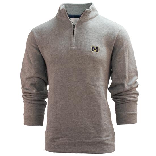 Brooks Brothers University of Michigan Heather Gray Brushed Back 1/4 Zip Pullover Sweatshirt