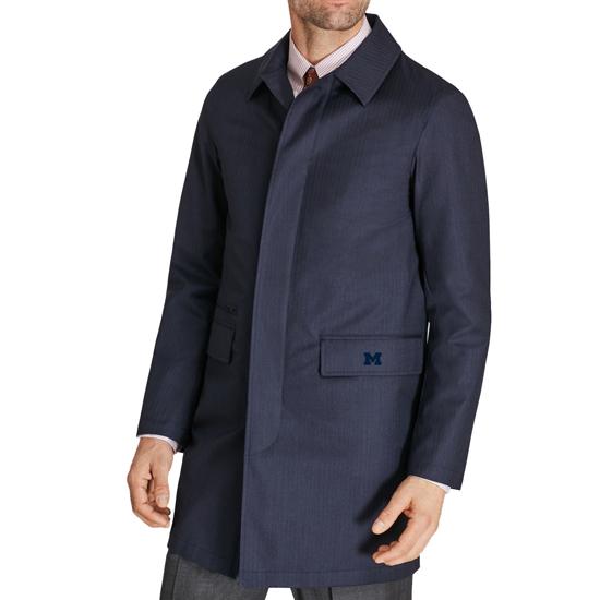 Brooks Brothers University of Michigan Navy Herringbone Trench Coat