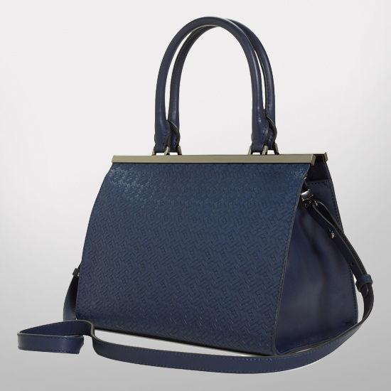 Brooks Brothers University of Michigan Navy Woven Leather Handbag