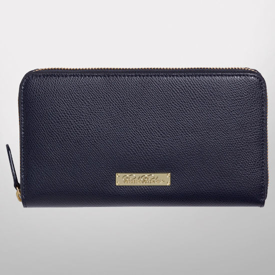 Brooks Brothers University of Michigan Navy Full Zip Leather Wallet