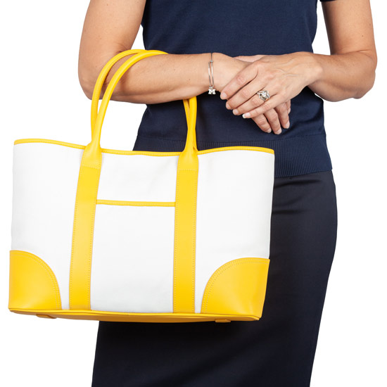 Brooks Brothers Yellow Leather Trimmed Canvas Tote Bag