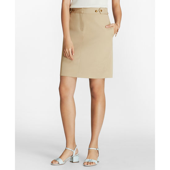 Brooks Brothers Red Fleece Women's Khaki Stretch Cotton Twill Pencil Skirt
