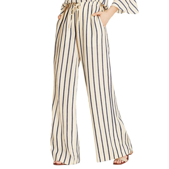 Brooks Brothers Women's Navy/Yellow Striped Linen Palazzo Pant