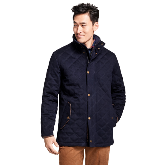 Brooks Brothers University of Michigan BrooksStorm Quilted Walking Coat