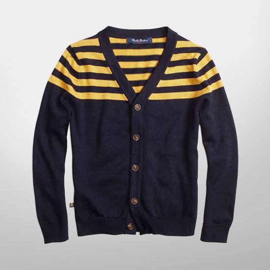 Brooks Brothers University of Michigan Youth Navy Striped Cardigan