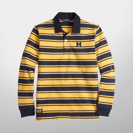 Brooks Brothers University of Michigan Boys' Striped Cotton Rugby Shirt