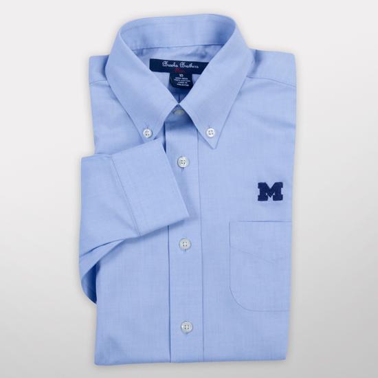 Brooks Brothers Fleece University of Michigan Youth Light Blue Solid Button Down Dress Shirt