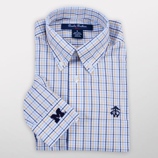 Brooks Brothers Fleece University of Michigan Youth Windowpane Tattersal Long Sleeve Sport Shirt