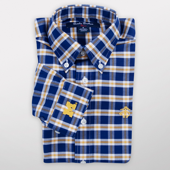 Brooks Brothers Fleece University of Michigan Youth Tonal Check Oxford Sport Shirt