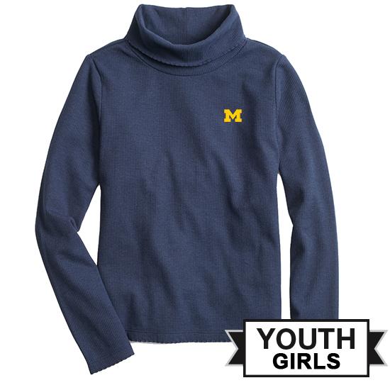 Brooks Brothers Fleece University of Michigan Youth Girls Navy Scalloped Turtleneck