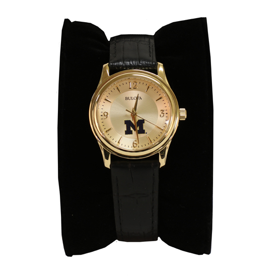 Bulova University of Michigan Women's Gold-Tone Stainless Steel Watch with Black Leather Band